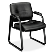 Basyx VL690 Series Guest Leather Chair, Black Leather