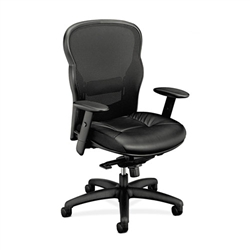 Basyx VL701 High-Back Swivel/Tilt Work Chair, Black Mesh/Leather