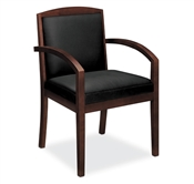 Basyx HVL853 Wood Guest Chairs with Black Leather