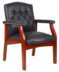 Boss Wood Guest Leather Chair B969