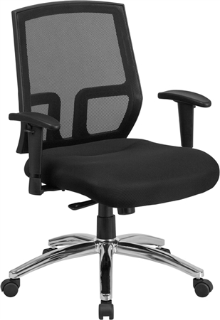 Flash HERCULES Series Big & Tall 400 lb. Rated Black Mesh Mid-Back Executive Swivel Chair with Arms - CP-A337A01-GG