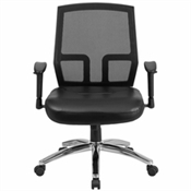 Flash HERCULES Series Big & Tall 400 lb. Rated Black Mesh Mid-Back Executive Swivel Chair with Leather Seat and Arms - CP-A337A01-LEA-GG