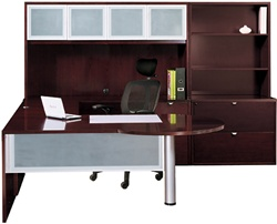 "Cherryman Jade Executive ""U"" Desk w/ Glass Modesty Panel, BBF Ped"