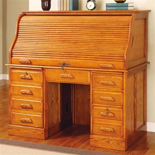 Coaster Palmetto Deluxe Roll Top Oak Computer Desk 5307N