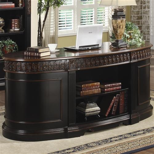 Riverside Home Office Executive Desk 44732: Coaster Nicolas Traditional Oval Executive Double Pedestal