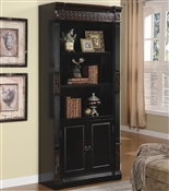 Coaster Nicolas Traditional Slim Bookcase with Carvings and Enclosed Storage Cabinet