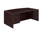 DMI Fairplex 7004-37Q EXECUTIVE BOW FRONT DESK WITH 3/4 PEDS
