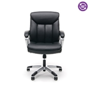 OFM Essentials Leather Executive Office Chair with Arms, Black/Silver ESS-6020