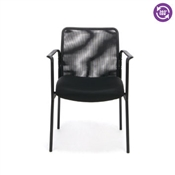 OFM Essentials Mesh Upholstered Stacking Side Chair with Arms ESS-8010