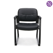 OFM Essentials Leather Executive Sled Base Side Chair with Padded Arms ESS-9015