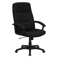 Black Fabric Upholstered High Back Executive Swivel Office Chair by Flash Furniture