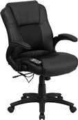 Massaging Black Leather Executive Office Chair by Flash Furniture