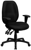 High Back Black Fabric Multi-Functional Ergonomic Task Chair with Arms by Flash Furniture