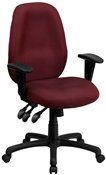 High Back Burgundy Fabric Multi-Functional Ergonomic Task Chair with Arms by Flash Furniture