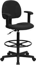 Black Patterned Fabric Ergonomic Drafting Stool with Arms by Flash Furniture