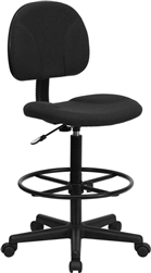 Black Patterned Fabric Ergonomic Drafting Stool by Flash Furniture