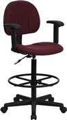 Burgundy Fabric Ergonomic Multi Function Drafting Stool with Adjustable Arms by Flash Furniture BT-659-BY-ARMS-GG