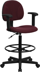 Burgundy Fabric Ergonomic Drafting Stool with Arms by Flash Furniture