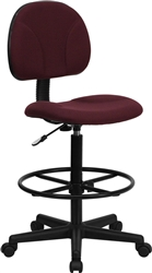 Burgundy Fabric Ergonomic Multi Function Drafting Stool by Flash Furniture BT-659-BY-GG