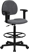 Gray Fabric Ergonomic Multi Function Drafting Stool with Adjustable Arms by Flash Furniture BT-659-GRY-ARMS-GG