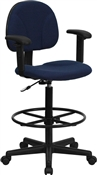 Navy Fabric Ergonomic Multi Function Drafting Stool with Adjustable Arms by Flash Furniture BT-659-NVY-ARMS-GG