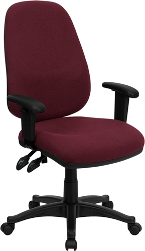 High Back Burgundy Fabric Ergonomic Computer Chair With Height Adjustable  Arms By Flash Furniture