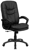 Mid-Back Massaging Black Leather Executive Office Chair by Flash Furniture