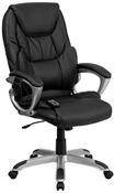 High Back Massaging Black Leather Executive Office Chair by Flash Furniture