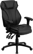 High Back Black Leather Executive Office Chair with Triple Paddle Control by Flash Furniture