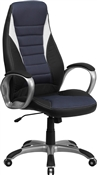 High Back Black Vinyl Executive Office Chair with Blue Mesh Insets by Flash Furniture