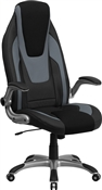 High Back Black & Gray Vinyl Executive Office Chair by Flash Furniture