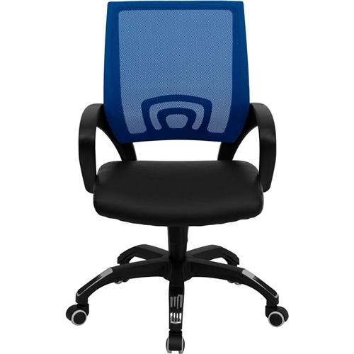 mid back blue mesh computer chair with black leather seat cp b176a01