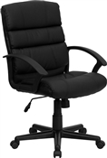Eco-Friendly Black Leather Mid-Back Office Chair by Flash Furniture GO-1004-BK-LEA-GG
