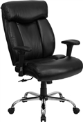 HERCULES Series 350 lb. Capacity Big & Tall Black Leather Office Chair with Arms by Flash Furniture