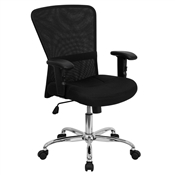 Mid-Back Black Mesh Contemporary Computer Chair by Flash Furniture
