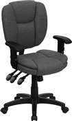 Mid-Back Gray Fabric Multi-Functional Ergonomic Task Chair by Flash Furniture