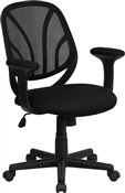 Y-GO Chair Mid-Back Black Mesh Computer Task Chair by Flash Furniture