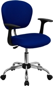 Mid-Back Blue Mesh Task Chair with Arms and Chrome Base by Flash Furniture