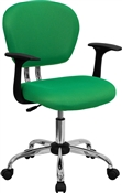 Mid-Back Bright Green Mesh Task Chair with Arms and Chrome Base by Flash Furniture