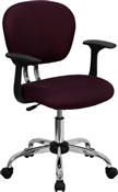 Mid-Back Burgundy Mesh Task Chair with Arms and Chrome Base by Flash Furniture