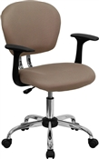 Mid-Back Coffee Brown Mesh Task Chair with Arms and Chrome Base by Flash Furniture