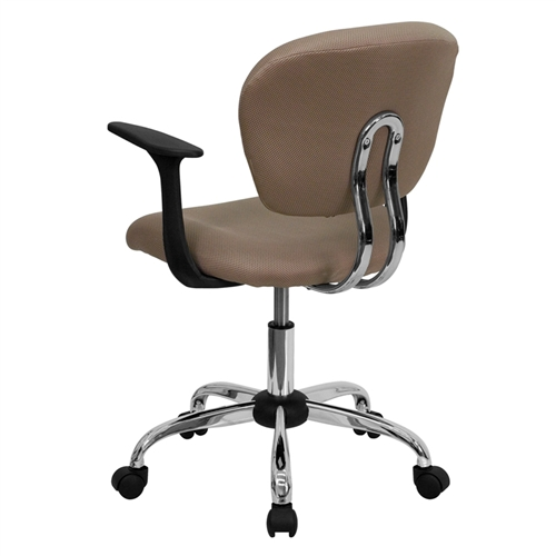 mid back coffee brown mesh task chair with arms and chrome base h