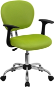 Mid-Back Apple Green Mesh Task Chair with Arms and Chrome Base by Flash Furniture