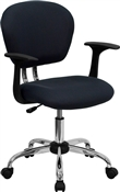 Mid-Back Gray Mesh Task Chair with Arms and Chrome Base by Flash Furniture
