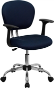 Mid-Back Navy Mesh Task Chair with Arms and Chrome Base by Flash Furniture