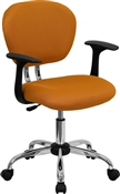 Mid-Back Orange Mesh Task Chair with Arms and Chrome Base by Flash Furniture