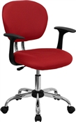 Mid-Back Red Mesh Task Chair with Arms and Chrome Base by Flash Furniture