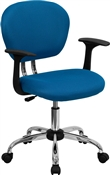 Mid-Back Turquoise Mesh Task Chair with Arms and Chrome Base by Flash Furniture