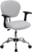 Mid-Back White Mesh Task Chair with Arms and Chrome Base by Flash Furniture