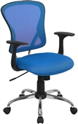 Mid-Back Blue Mesh Office Chair with Chrome Finished Base by Flash Furniture